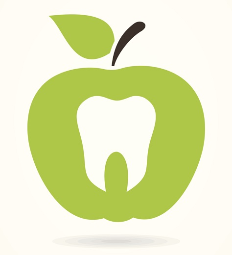 graphic of a white tooth on top of a green apple graphic