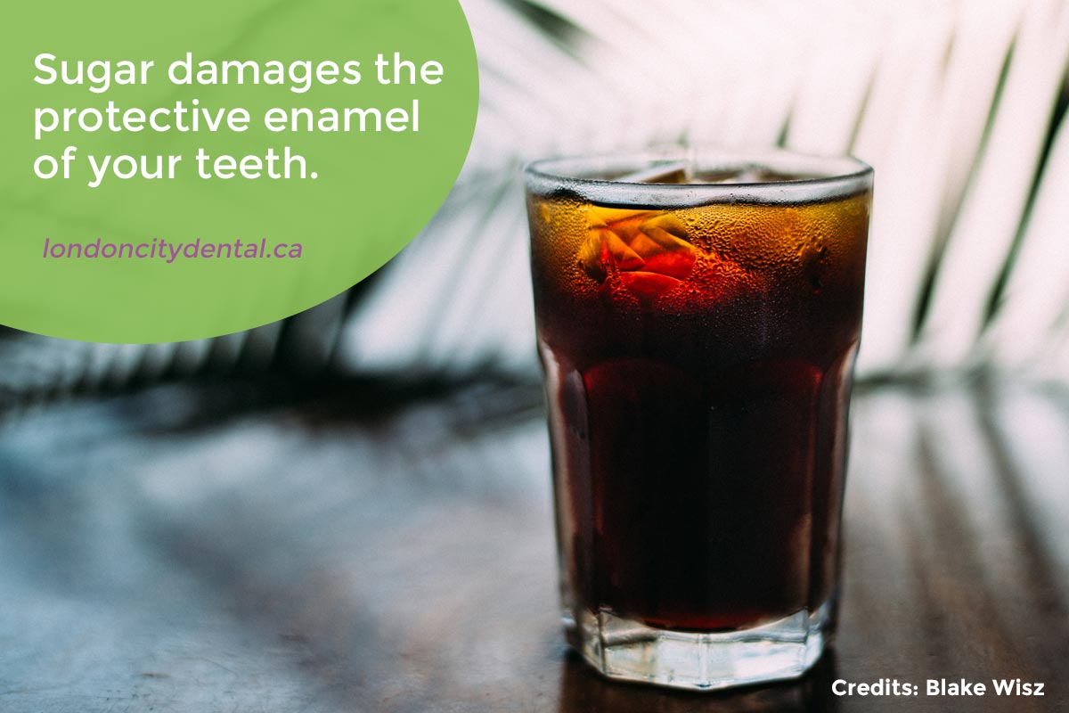 Sugar damages the protective enamel